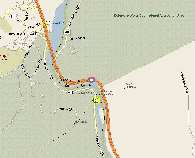 Road Map To Delaware Water Gap PA Trail
